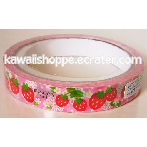 Pool Cool Strawberry Field Deco Tape - Kawaii Strawberries, Red, Pink, White Flowers