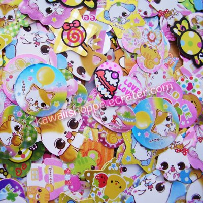 100 Sticker Flakes from Japanese Sticker Sacks (Lot A) CRUX Kamio Japan
