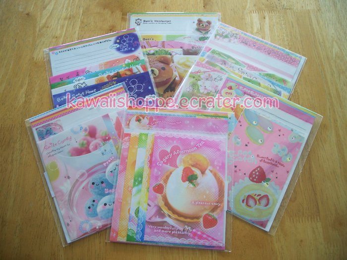 26 Kawaii Letter Sets Smile Candy Sweet Swatch Bear's Hamburger Spring Comes Soon Kamio Crux No. 1