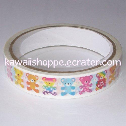Kamio Japan Colorful *I Heart Bear* Deco Tape - Kawaii Teddy Bears Cute