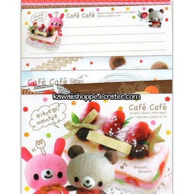 Kamio Japan *Cafe Cafe* Letter Set Kawaii Bunny Bear Cake Desserts Sweets