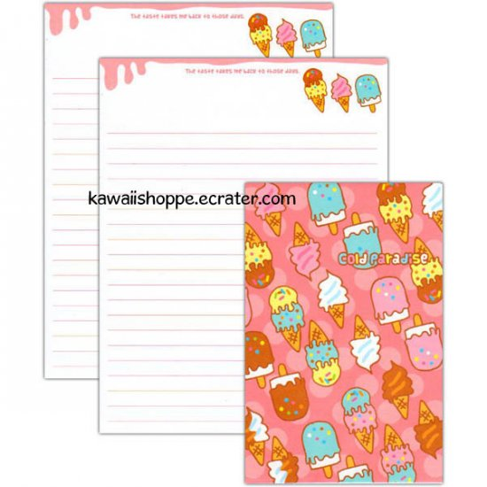 Cold Paradise Ice Cream Letter Set Kawaii