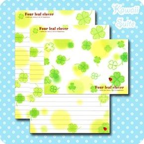 Four Leaf Clover Letter Set Kawaii