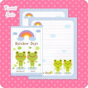 Rainbow Days Frog Letter Set Kawaii