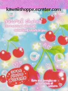 Kamio Japan Natural Cherry Mini Memo Pad - Kawaii Red Cherries