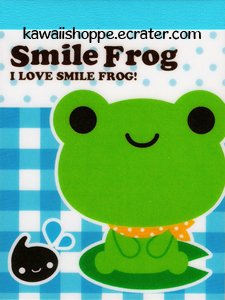 Q-Lia *Smile Frog* Mini Memo Pad Kawaii Green Frogs Lily Pad