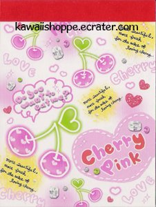 Q-Lia Cherry Pink Mini Memo Pad - Kawaii Pink Cherries Love