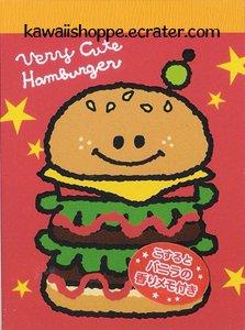 Kamio Japan Very Cute Hamburger Mini Memo Pad - Kawaii Burger Fast Foods