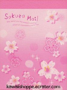 Q-Lia *Sakura Mail* Mini Memo Pad Kawaii Pink Flowers