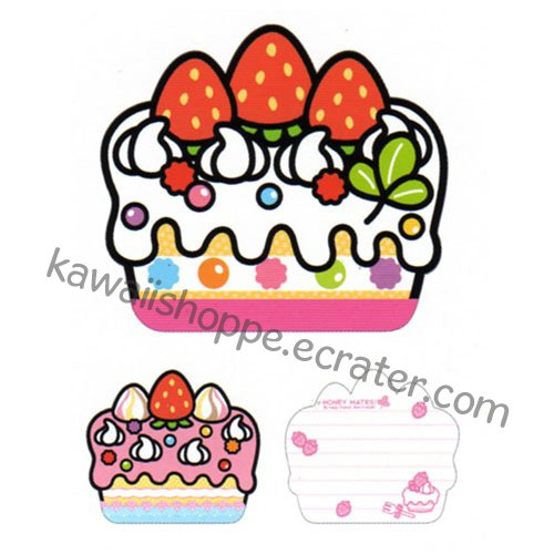 Kamio Japan Die-Cut Cake Mini Memo Pad #2 - Kawaii Strawberry