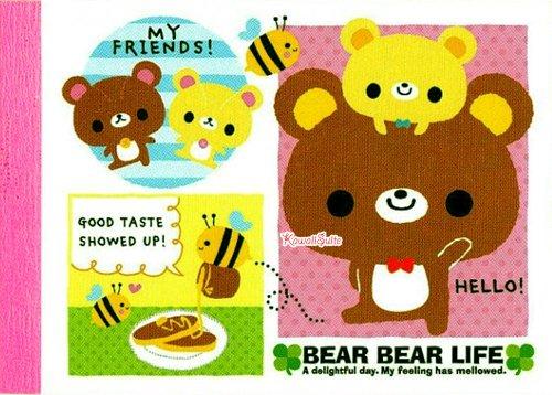 Kamio Japan *Bear Bear Life* Mini Memo Pad