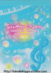 San-X Sunday Dream Mini Memo Pad - Kawaii Bubbles Clouds Music Notes Piano