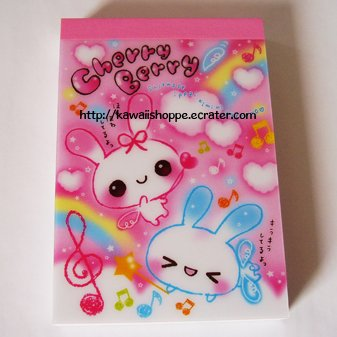 San-X Cherry Berry Mini Memo Pad - Kawaii Hearts Clouds Music Notes Clovers