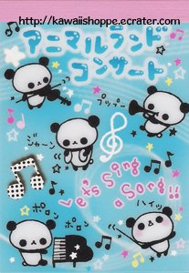 San-X Animal Land Concert Mini Memo Pad - Kawaii Panda Bear Music Notes Piano