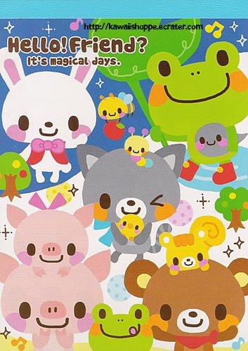 Q-Lia Hello Friend Memo Pad Kawaii Stationery Frog Pig Bear