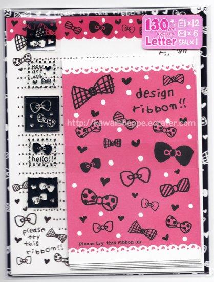 Pool Cool Design Ribbon Letter Set kawaii Ribbons Bows Hot Pink