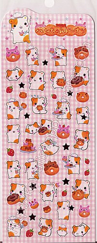 Q-lia Sticker Sheet #SE013 - Kawaii Hamu Hamster Stickers Doughnuts Donuts