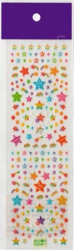 Rainbow Shooting Stars Sticker Sheet - Kawaii Stickers