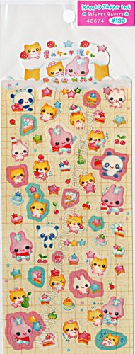 Kamio Japan Animal Party Sticker Sheet - Kawaii Stickers Rainbow Colorful
