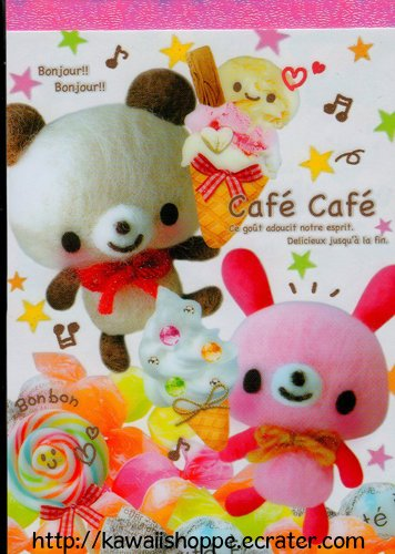 Kamio Japan Cafe Cafe Memo Pad Kawaii Kuma Bears Desserts Ice Cream