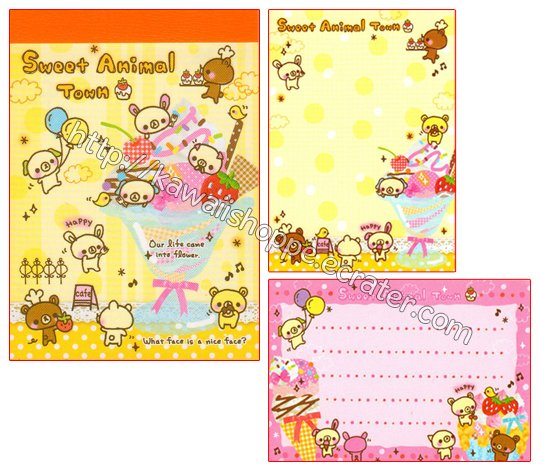 Kamio Japan Sweet Animal Town Mini Memo Pad Kawaii Desserts Sweets Ice Cream Bears Kuma