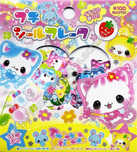 Kamio Japan Twinkle Friends Sticker Sack Kawaii Stickers Sacks Flowers Stars