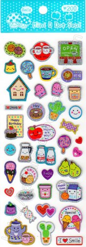 Mini Q Dot Coffee Cake and Cookies Sticker Sheet Kawaii Stickers Sweets Biscuits Tea Milk Ice Cream