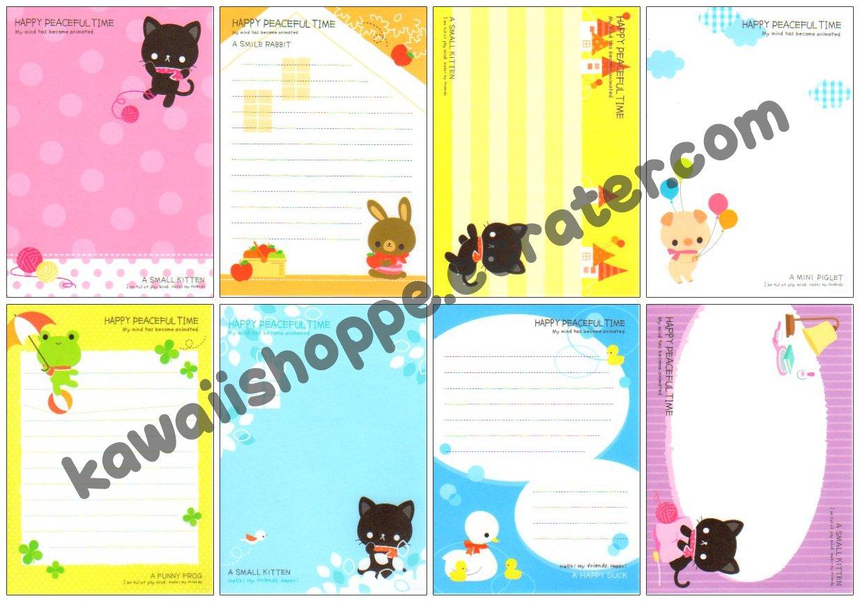 Kamio Japan Happy Peaceful Time Loose Memo Sheets Kawaii