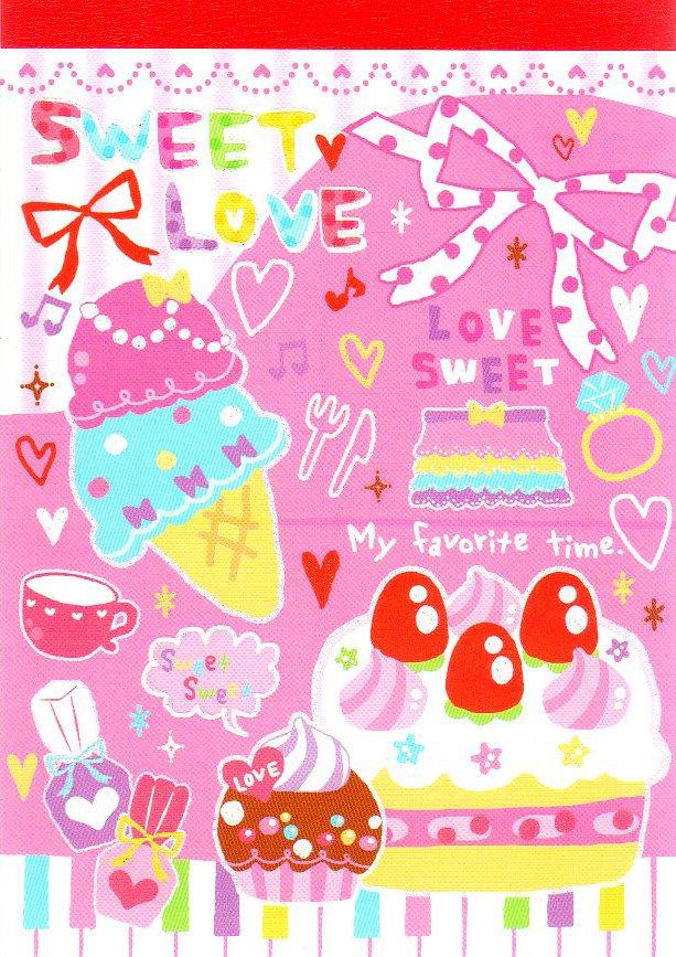 Kamio Japan Sweet Love Memo Pad Kawaii desserts cupcakes ice cream strawberries