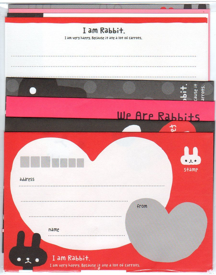 "Mindwave ""I am Rabbit"" Letter Set Kawaii heart bunny bunnies red black"