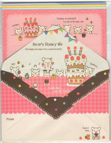 Mindwave Bear's Honey Life Letter Set Kawaii Desserts bear bears