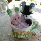 Tea Bunnies and Me Bachelor Button and Sweetheart Rose Tea Cup Bunny Bride and Groom