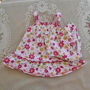 Floral Fuschia Pink, Yellow and Green Sun Dress for Baby Girl Size 6/9 Months