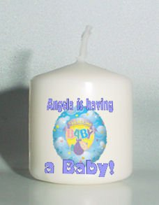 6 Custom Blue Baby Shower Favors Votive Candles Personalized