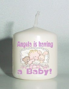 6 Custom Baby Shower Favors Votive Candles Baby in bed Personalized