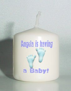 6 Baby Shower Custom Favors Votive Candles Blue Footprints Personalized