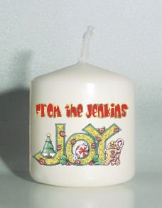 set of 6 Holiday Christmas Votive Candles Custom Favors or Add to Gift baskets Personalized