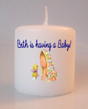 Baby Shower Gift Small Pillar Candles Custom Favors or Add to Gift baskets Personalized