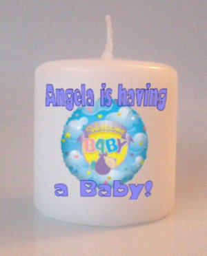 Blue Baby Shower Gift Small Pillar Candles Custom Favors or Add to Gift baskets Personalized