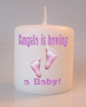 Baby Shower  Pink Footprints Small Pillar Candles Custom Favors Add to Gift baskets Personalized