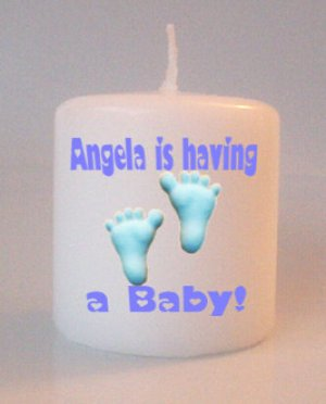 Baby Shower Blue Footprints Small Pillar Candles Custom Favors Add to Gift baskets Personalized