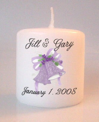 Wedding Bells Bridal Shower Small Pillar Candles Custom Favors Add to Gift baskets Personalized