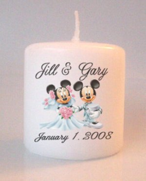 Wedding Mickey Minnie Bridal Shower Small Pillar Candles Custom Favors Add to Gift baskets
