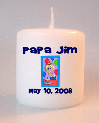 Birthday Old Man Small Pillar Candles Custom Favors Add to Gift baskets Personalized
