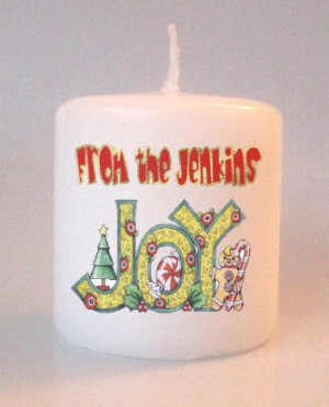 Christmas Holiday Small Pillar Candles Custom Favors Add to Gift baskets Personalized