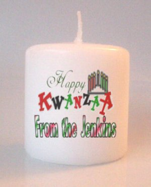 Kwanzaa Small Pillar Candles Custom Favors Add to Gift baskets Personalized