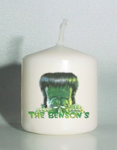 set of 6 Halloween Monster Votive Candles Custom Favors or Add to Gift baskets Personalized