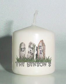 set of 6 Halloween Grave Votive Candles Custom Favors or Add to Gift baskets Personalized