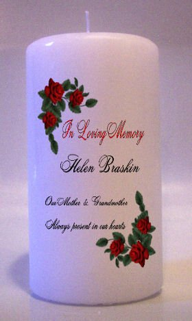 MEMORIAL Red Roses 6 inch Pillar Candles Custom Personalized