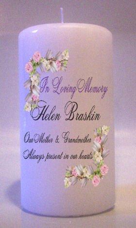 MEMORIAL Pink Roses 6 inch Pillar Candles Custom Personalized